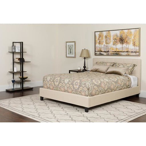 Chelsea Queen Size Upholstered Platform Bed In Beige Fabric With Pocket Spring Mattress - Complete Bed Sets