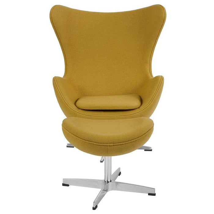 Citron Wool Fabric Egg Chair With Tilt-Lock Mechanism And Ottoman - Reception Furniture - Chair And Ottoman Sets
