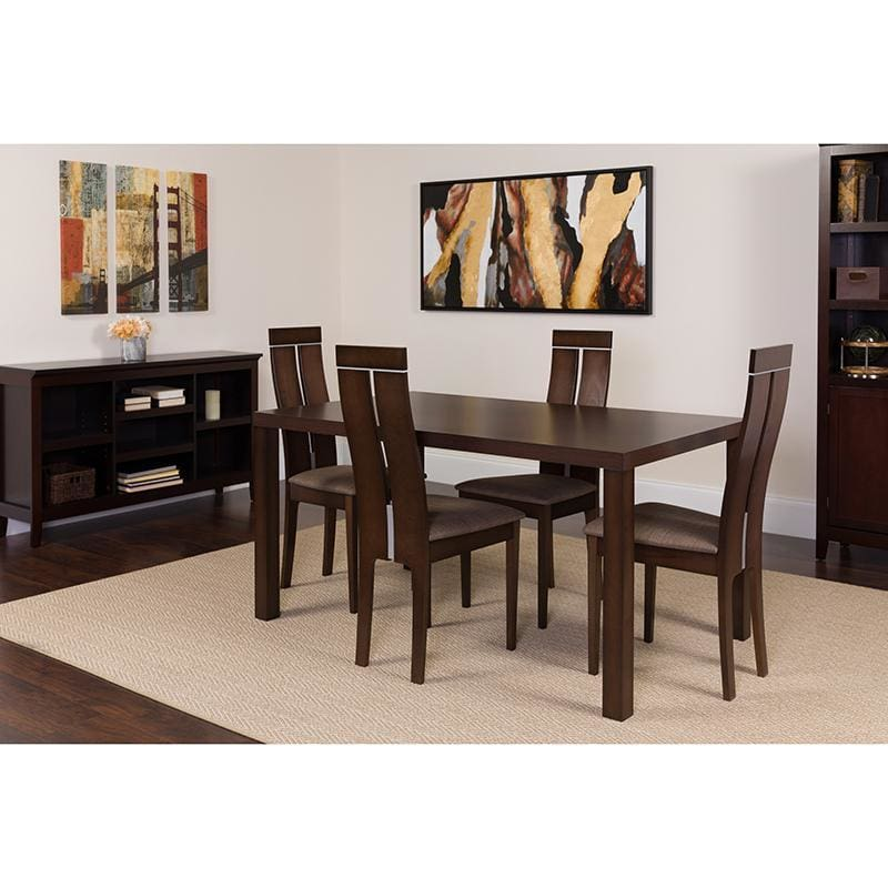 Clarke 5 Piece Espresso Wood Dining Table Set With Clean Line Wood Dining Chairs - Padded Seats - Dinette Sets