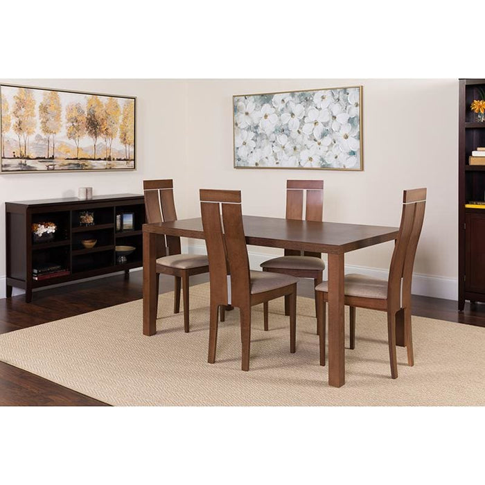 Clarke 5 Piece Walnut Wood Dining Table Set With Clean Line Wood Dining Chairs - Padded Seats - Dinette Sets