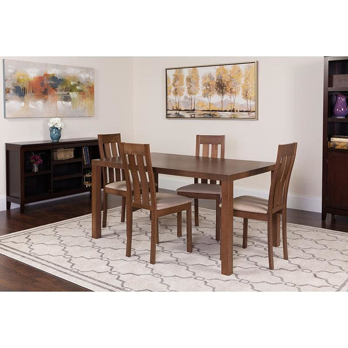 Clinton 5 Piece Walnut Wood Dining Table Set With Vertical Slat Back Wood Dining Chairs - Padded Seats - Dinette Sets
