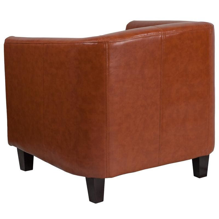 Cognac Leather Lounge Chair - Reception Furniture - Chairs