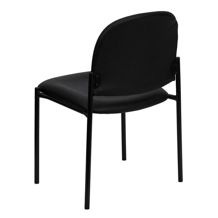 Comfort Black Vinyl Stackable Steel Side Reception Chair - Stack Chairs
