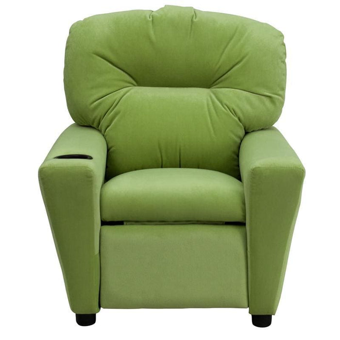 Contemporary Avocado Microfiber Kids Recliner With Cup Holder - Kids Recliners