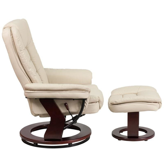 Contemporary Beige Leather Recliner And Ottoman With Swiveling Mahogany Wood Base - Recliners