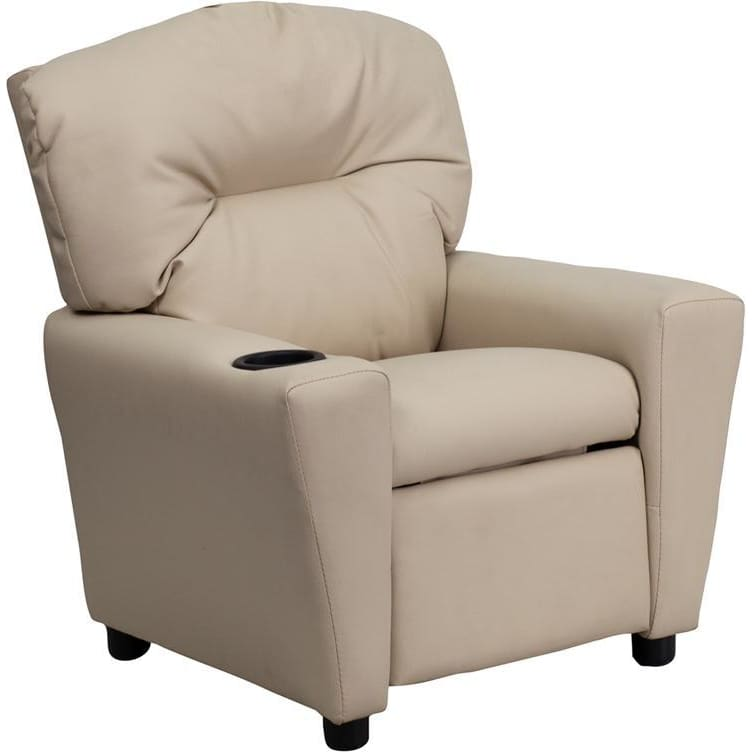 Contemporary Beige Vinyl Kids Recliner With Cup Holder - Kids Recliners