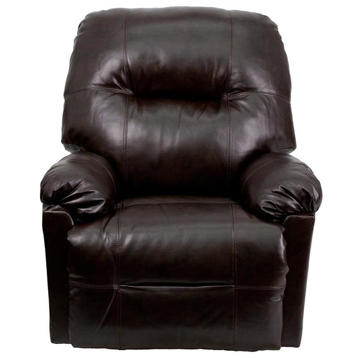 Contemporary Bentley Brown Leather Chaise Power Recliner With Push Button - Recliners
