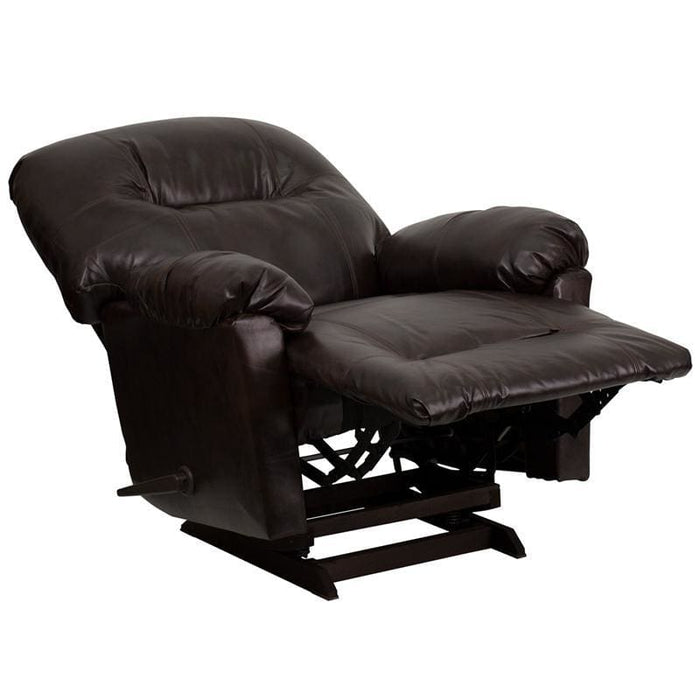 Contemporary Bentley Brown Leather Chaise Rocker Recliner - Recliners