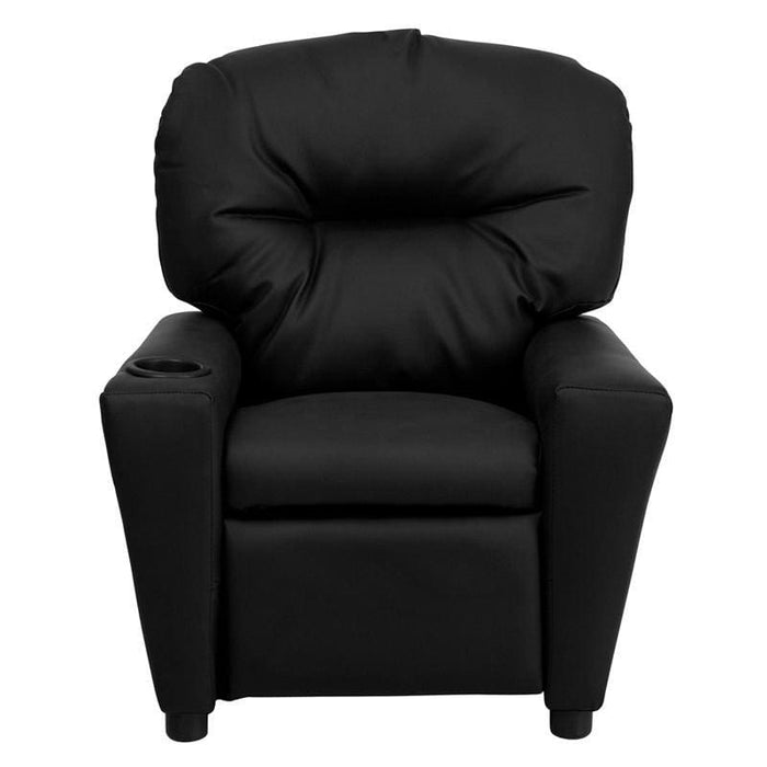 Contemporary Black Leather Kids Recliner With Cup Holder - Kids Recliners
