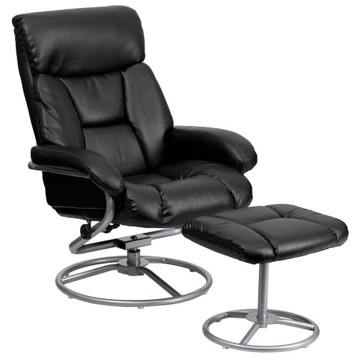 Contemporary Black Leather Recliner And Ottoman With Metal Base - Recliners