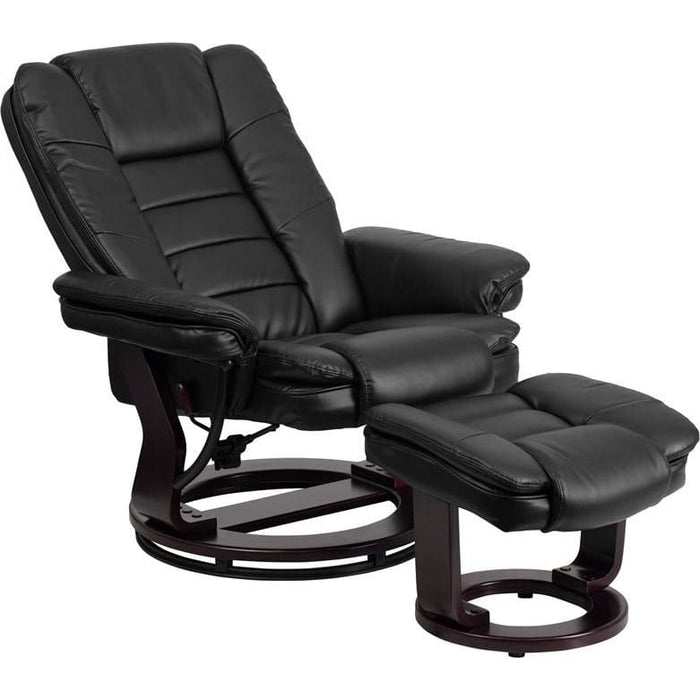 Contemporary Black Leather Recliner And Ottoman With Swiveling Mahogany Wood Base - Recliners