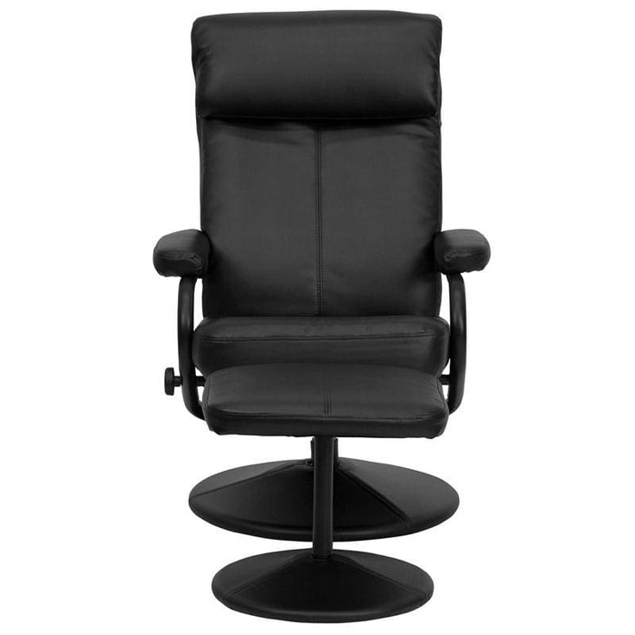 Contemporary Black Leather Recliner And Ottoman With Leather Wrapped Base - Recliners