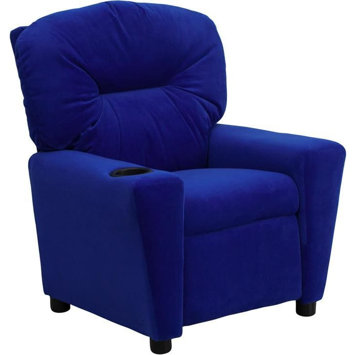 Contemporary Blue Microfiber Kids Recliner With Cup Holder - Kids Recliners