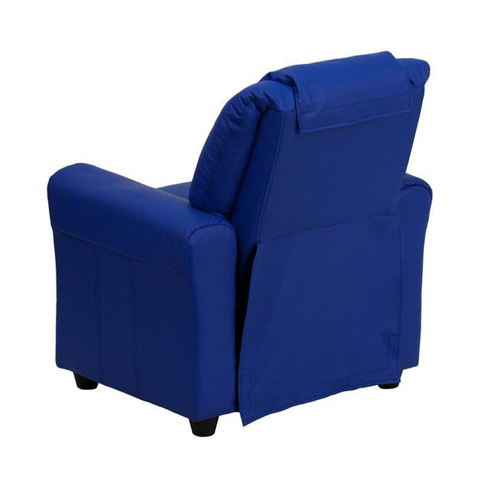 Contemporary Blue Vinyl Kids Recliner With Cup Holder And Headrest - Kids Recliners