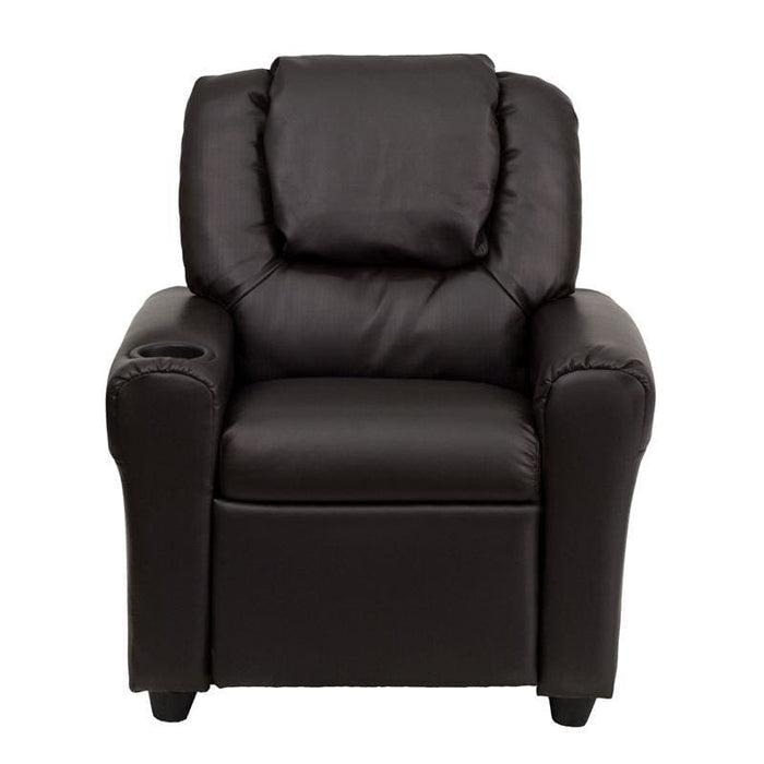 Contemporary Brown Leather Kids Recliner With Cup Holder And Headrest - Kids Recliners
