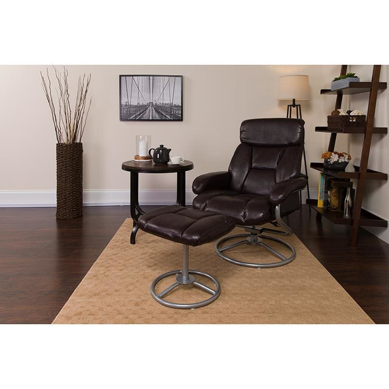 Contemporary Brown Leather Recliner And Ottoman With Metal Base - Recliners