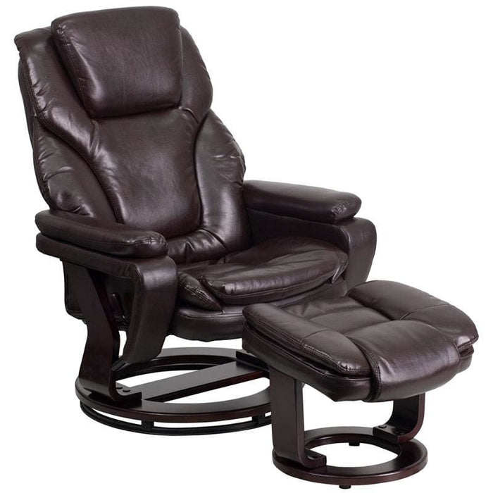 Contemporary Brown Leather Recliner And Ottoman With Swiveling Mahogany Wood Base - Recliners