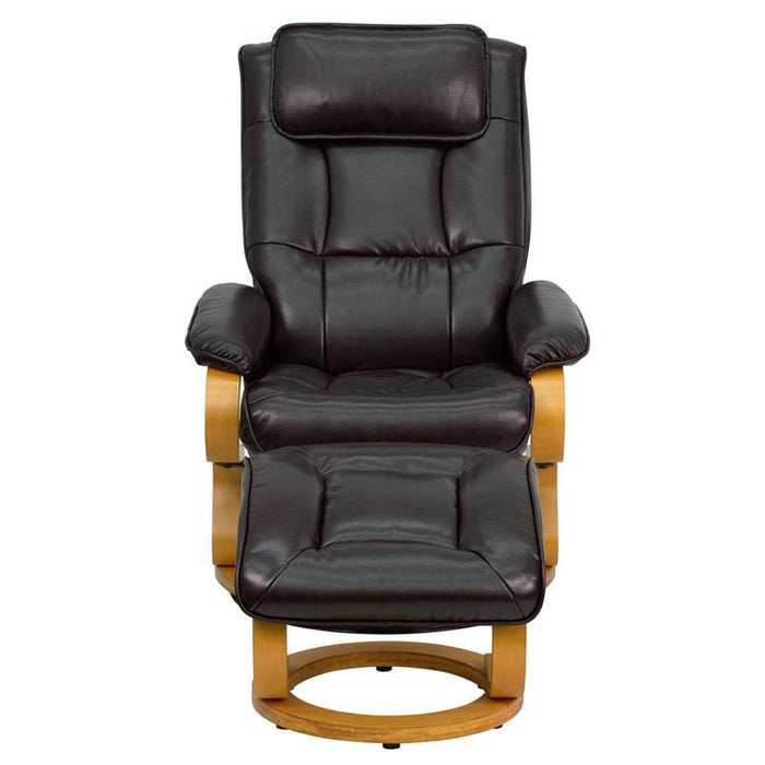 Contemporary Brown Leather Recliner And Ottoman With Swiveling Maple Wood Base - Recliners