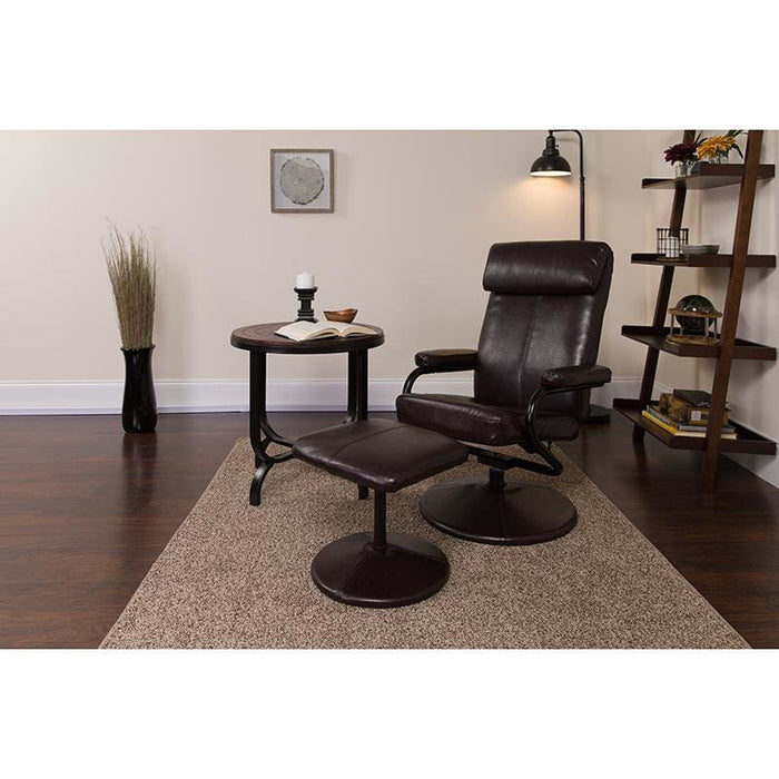 Contemporary Brown Leather Recliner And Ottoman With Leather Wrapped Base - Recliners