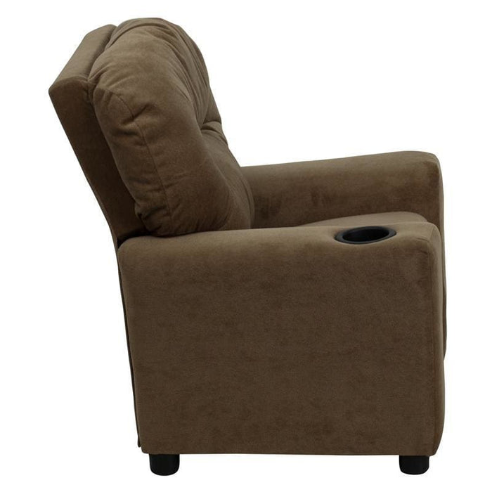 Contemporary Brown Microfiber Kids Recliner With Cup Holder - Kids Recliners