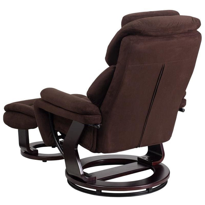 Contemporary Brown Microfiber Recliner And Ottoman With Swiveling Mahogany Wood Base - Recliners