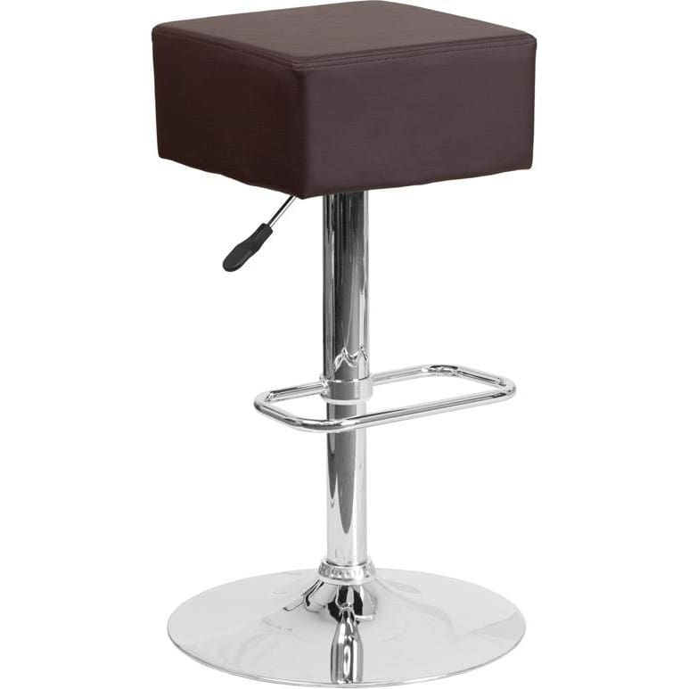 Contemporary Brown Vinyl Adjustable Height Barstool With Chrome Base - Residential Barstools