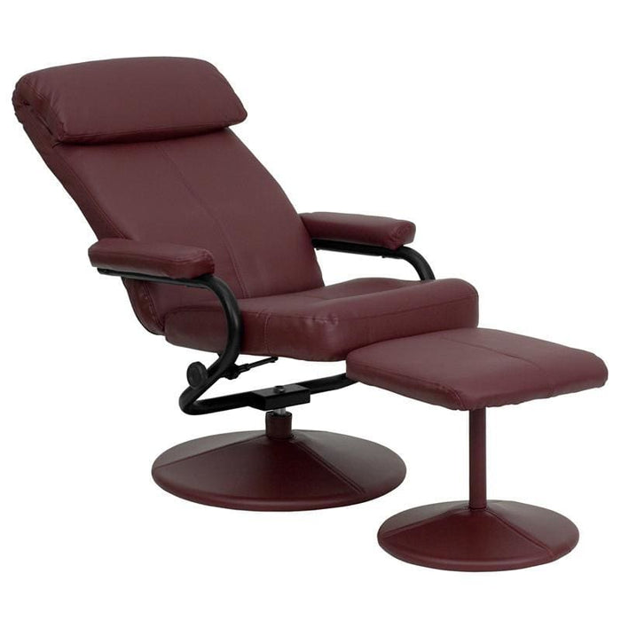 Contemporary Burgundy Leather Recliner And Ottoman With Leather Wrapped Base - Recliners