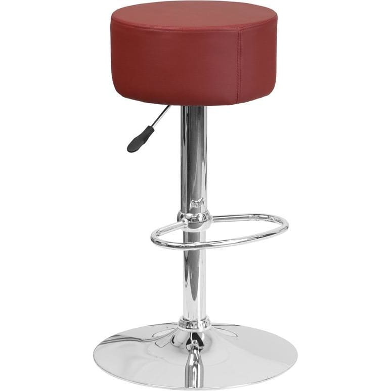 Contemporary Burgundy Vinyl Adjustable Height Barstool With Chrome Base - Residential Barstools