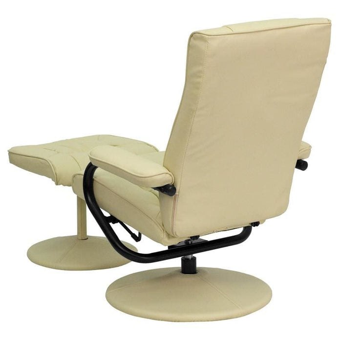 Contemporary Cream Leather Recliner And Ottoman With Leather Wrapped Base - Recliners