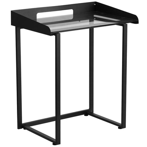 Contemporary Desk With Clear Tempered Glass And Black Metal Frame - Desks