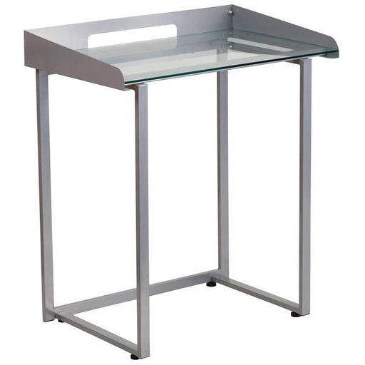 Contemporary Desk With Clear Tempered Glass And Silver Metal Frame - Desks