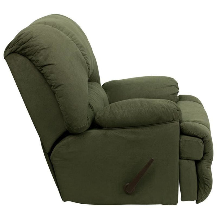 Contemporary Glacier Olive Microfiber Chaise Rocker Recliner - Recliners