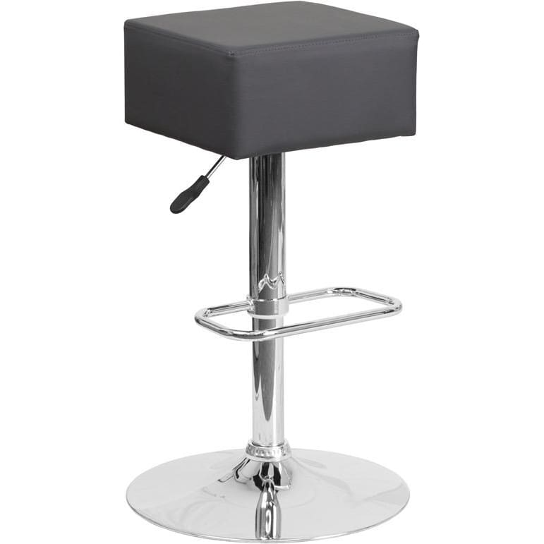 Contemporary Gray Vinyl Adjustable Height Barstool With Chrome Base - Residential Barstools