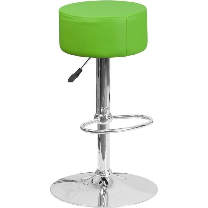 Contemporary Green Vinyl Adjustable Height Barstool With Chrome Base - Residential Barstools
