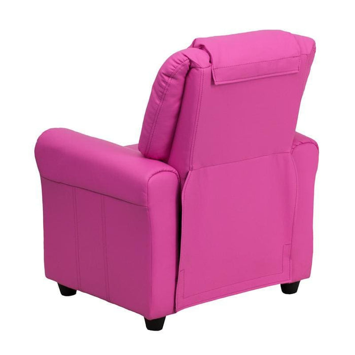 Contemporary Hot Pink Vinyl Kids Recliner With Cup Holder And Headrest - Kids Recliners