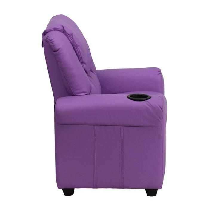 Contemporary Lavender Vinyl Kids Recliner With Cup Holder And Headrest - Kids Recliners