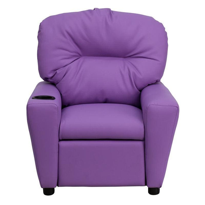 Contemporary Lavender Vinyl Kids Recliner With Cup Holder - Kids Recliners