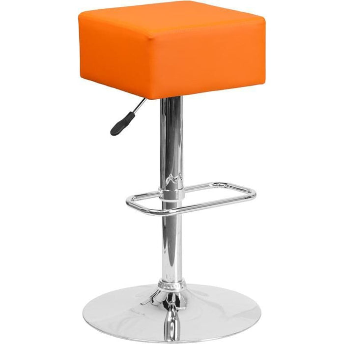 Contemporary Orange Vinyl Adjustable Height Barstool With Chrome Base - Residential Barstools