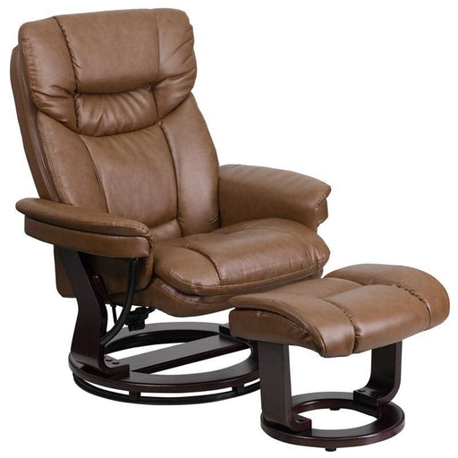 Contemporary Palimino Leather Recliner And Ottoman With Swiveling Mahogany Wood Base - Recliners