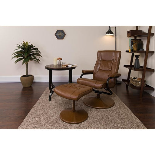 Contemporary Palimino Leather Recliner And Ottoman With Leather Wrapped Base - Recliners