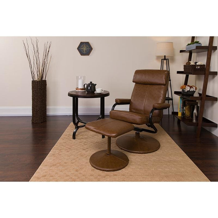Contemporary Palomino Leather Recliner And Ottoman With Leather Wrapped Base - Recliners