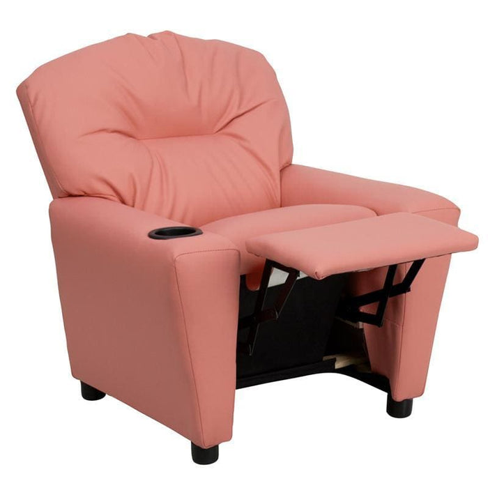 Contemporary Pink Vinyl Kids Recliner With Cup Holder - Kids Recliners