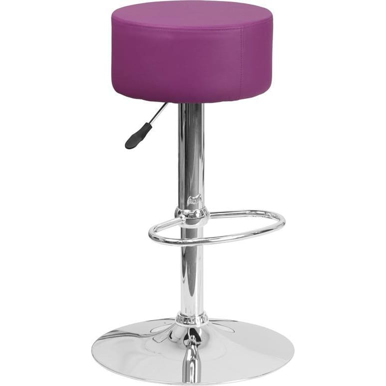 Contemporary Purple Vinyl Adjustable Height Barstool With Chrome Base - Residential Barstools