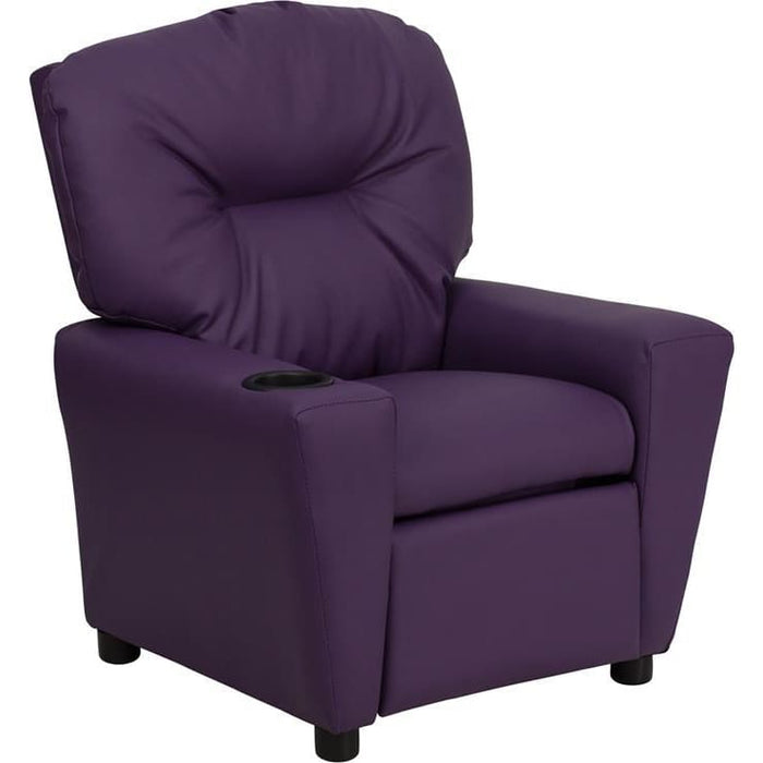 Contemporary Purple Vinyl Kids Recliner With Cup Holder - Kids Recliners
