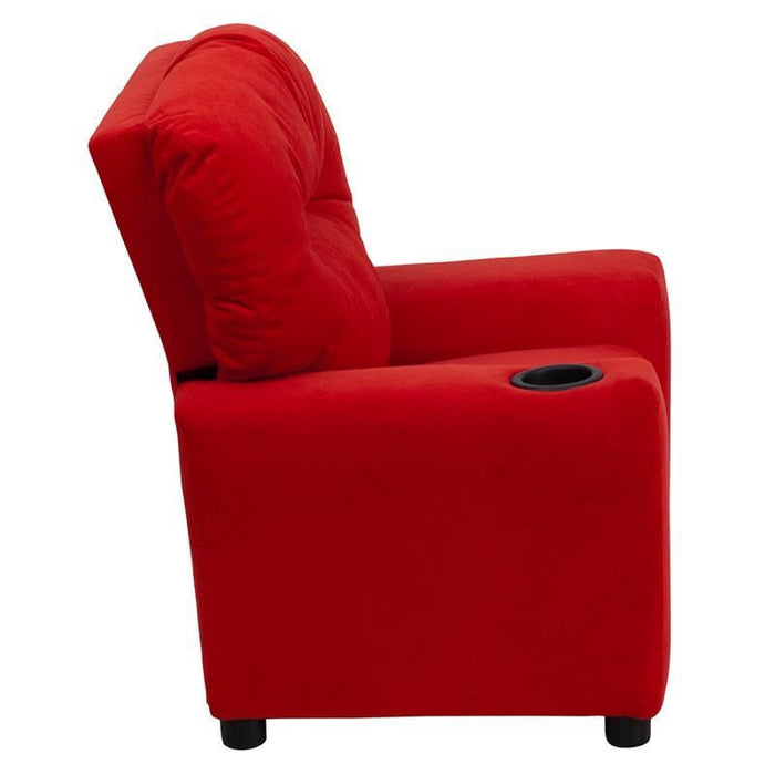 Contemporary Red Microfiber Kids Recliner With Cup Holder - Kids Recliners
