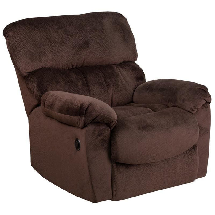 Contemporary Sharpei Chocolate Microfiber Power Recliner With Push Button - Recliners