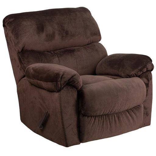 Contemporary Sharpei Chocolate Microfiber Rocker Recliner - Recliners
