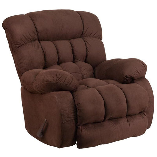 Contemporary Softsuede Fudge Microfiber Rocker Recliner - Recliners