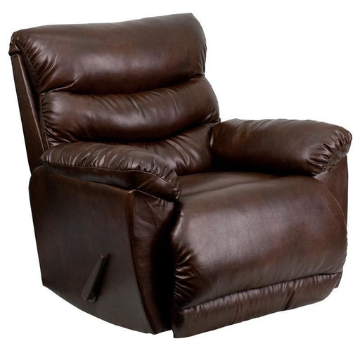 Contemporary Tonto Espresso Bonded Leather Rocker Recliner - Recliners