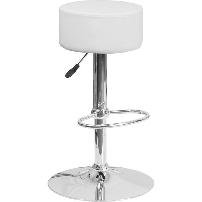 Contemporary White Vinyl Adjustable Height Barstool With Chrome Base - Residential Barstools